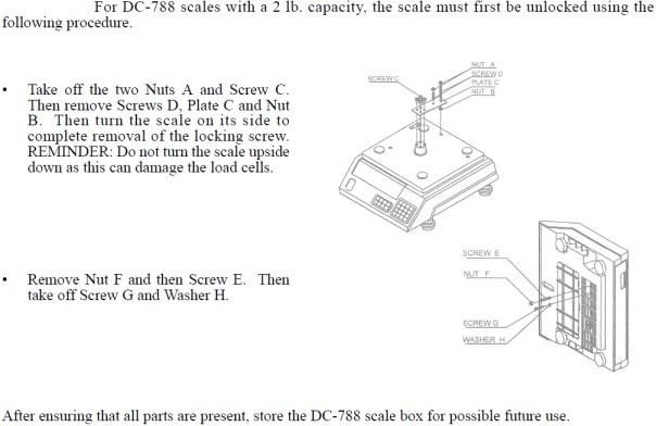 instructions on unpacking DC788 with 2 lb capacity