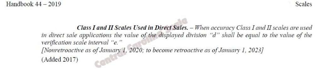 screenshot of NCWM handbook page discussing Class I and II Scales for Direct Sales