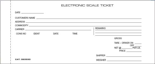 scale ticket 083930 carbon electronic scale ticket. Black Bedroom Furniture Sets. Home Design Ideas