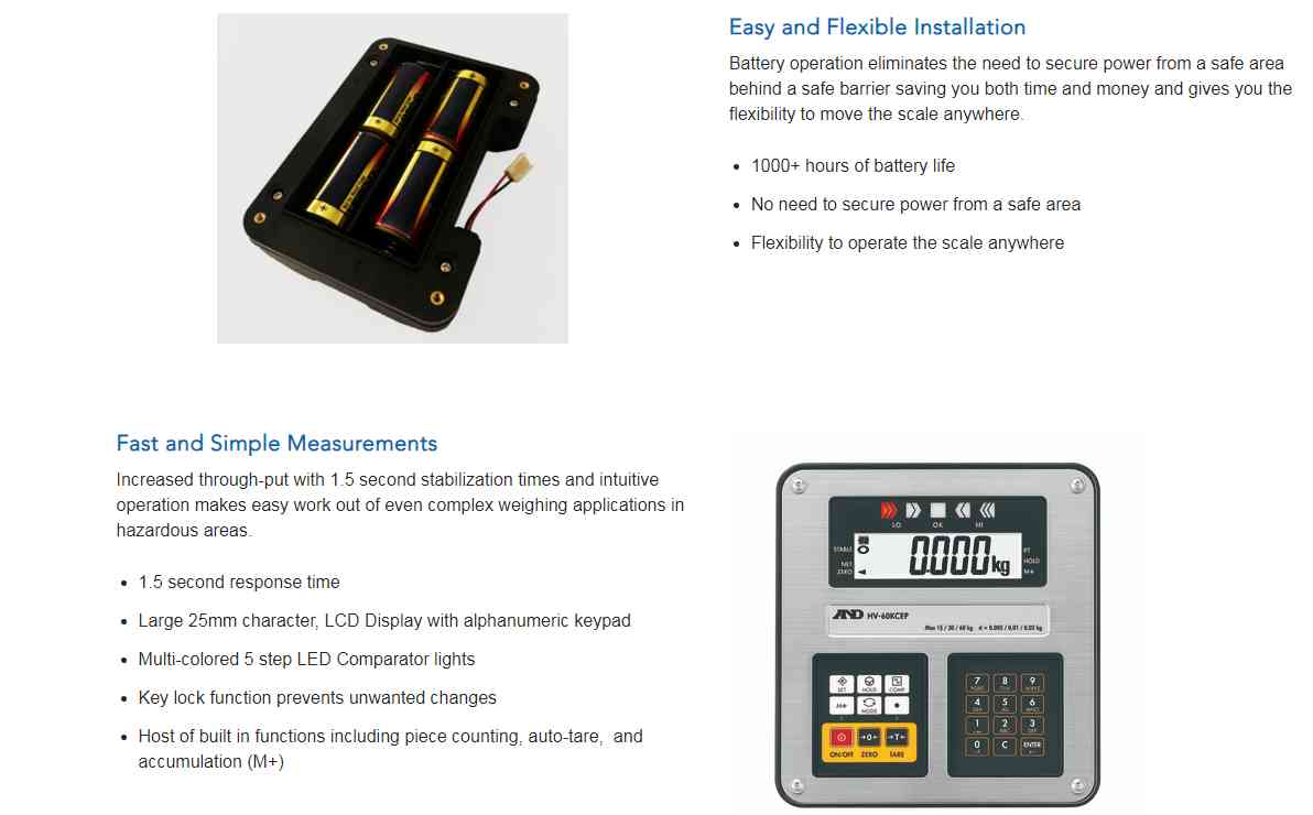 intrinsically safe bench scale from a&d