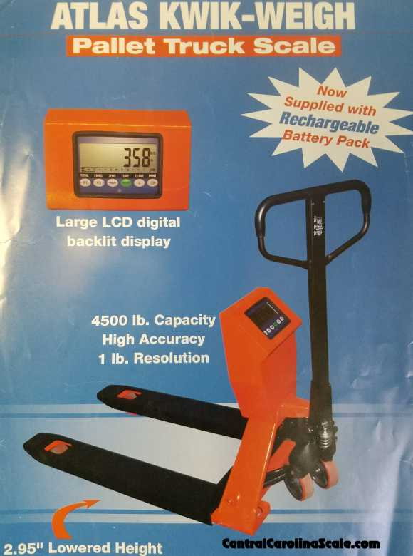 atlas kwik-weigh pallet truck with scale attached