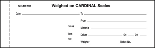 Scale Calibration Weights >> Scale Ticket Cardinal 500 NCR Carbonless 3 part
