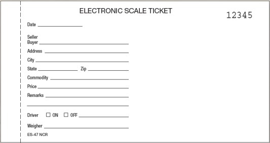 es-47 ncr carbonless numbered scale tickets