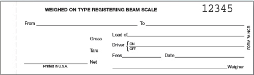 howe 7a ncr carbonless scale tickets weighed on type registering beam scale