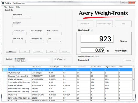 weigh-tronix plu lite software for zk830 counting scale