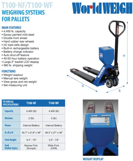 b-tek t100 pallet jack scale for warehouse floor