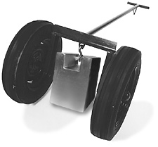 transfer cart with large rubber tires for hauling heavy weights